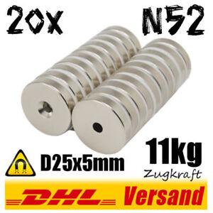 20x-Neodym-Magnet-Scheibe-D25x5mm-11kg-mit-Bohrung-N52-starke-Magnete-Werkstatt