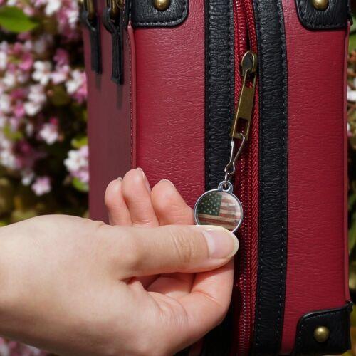 Rustic American USA Flag Distressed Jacket Handbag Purse Zipper Pull Charm