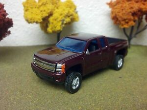 Details About 1 64 Custom Chevy Silverado Lifted 4x4 Truck Farm Toy Dark Red Extended Cab