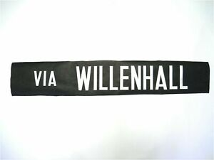 Vintage-screen-printed-Wolverhampton-Bus-destination-blind-Via-Willenhall