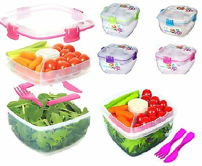 Sistema 1.1 Litre Salad To Go With Dressing Pot & Cutlery Lunch Box BPA FREE