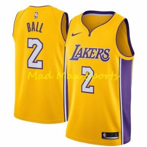 cc4f7e3ee7b LONZO BALL Los Angeles LA LAKERS Nike NBA ICON Gold SWINGMAN Jersey ...