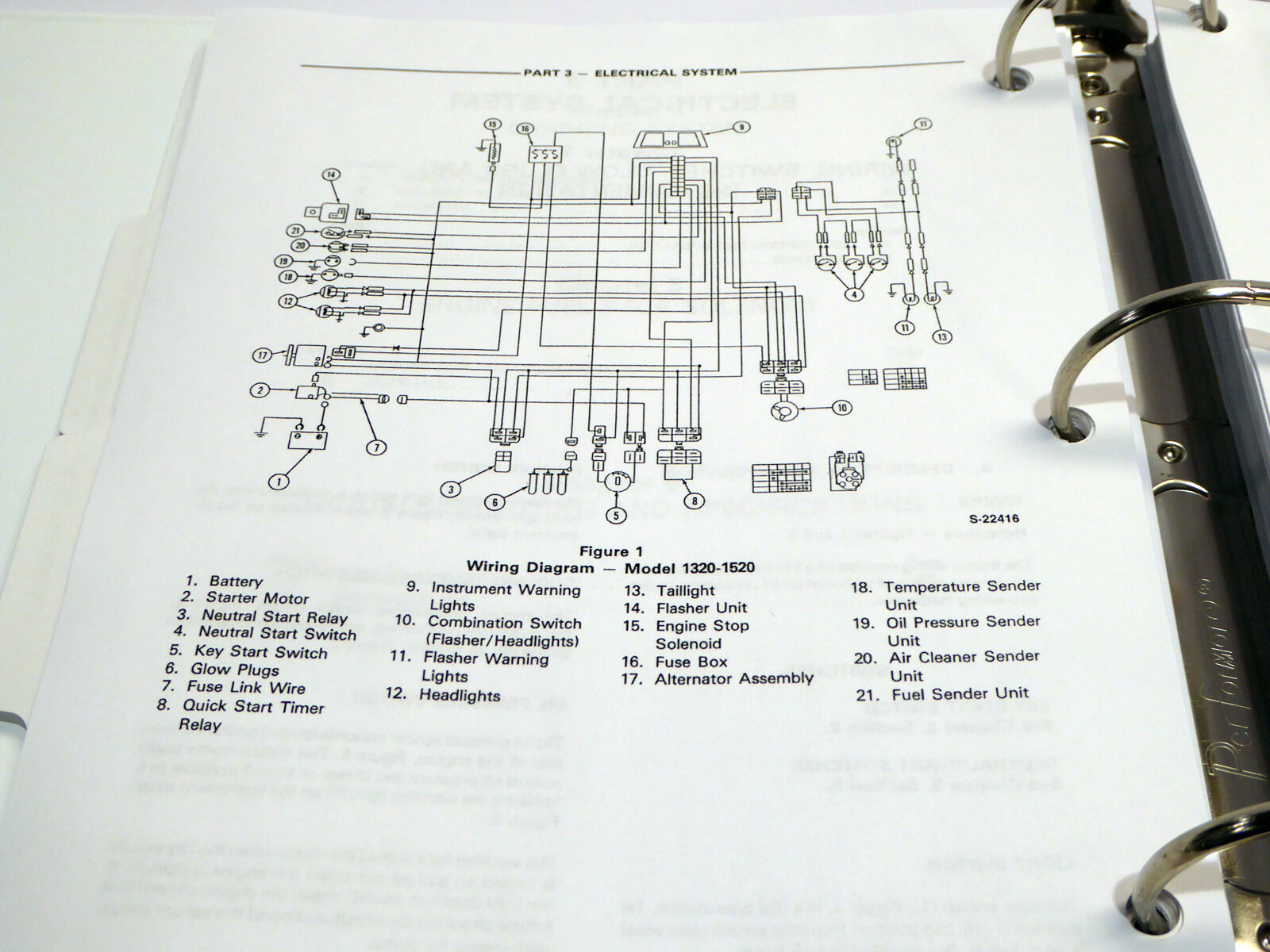 ford 1720 wiring diagram original ford 1320 1520 1720 tractors service manual in binder  original ford 1320 1520 1720 tractors