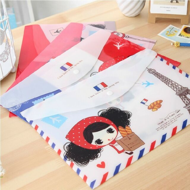 """Cute Girl"" File Folder Pack of 4 Cute 1 Layer A4 Size Study Paper Document Bag"