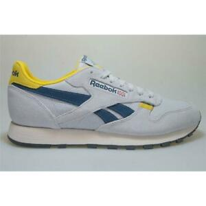 Reebok-Classic-Leather-MU-cn7177-gris-jaune-Cuir-Sneaker-Hommes-Chaussures
