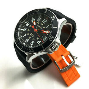Men-039-s-Timex-Military-Allied-Black-and-Orange-Strap-Watch-Set-TWG017900