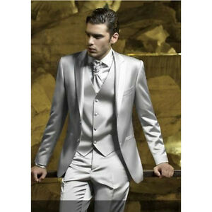 Silver Grey Satin Men Suit Slim Fit Skinny Simple Stage Prom Outfit Blazer Men | eBay