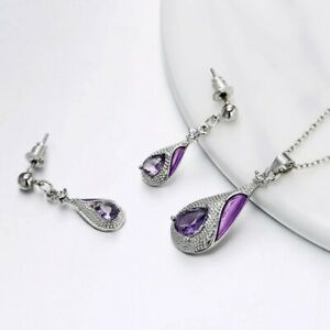Necklace-Amethyst-Set-Silver-Sterling-Earrings-Earring-And-3-Diamond-925-Silver