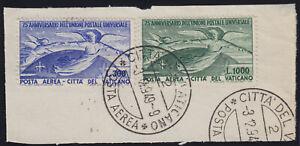 """Vaticano 1949 P. A. """"U.P.U."""" n.18-19 serie usata US su frammento di busta FDC"""