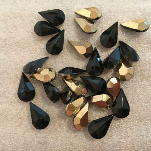 "AL931 13x8mm /""aurum/"" on jet black pear shape faceted glass jewels 30"