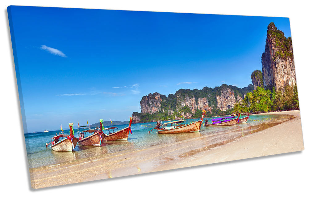Beach Boats Thailand Picture PANORAMIC CANVAS WALL ART Print
