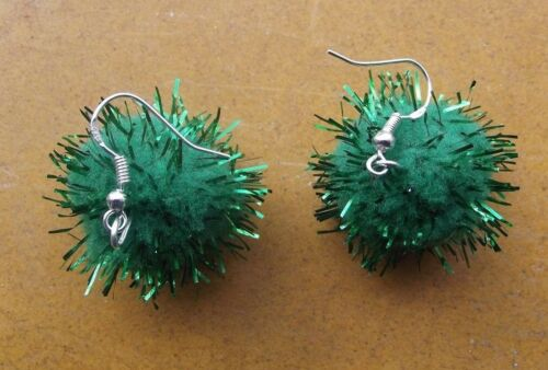 Gift 925 Sterling Silver Hooks Christmas Green Tinsel Pom Pom Earrings /& Free G