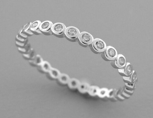 Nouveau Argent Sterling Zircone cubique Full Eternity Wedding Band Ring Taille 10.5 Round Cut Stack