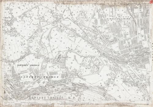Old  Yorkshire map 230-12-1907 W Sowerby Bridge Halifax