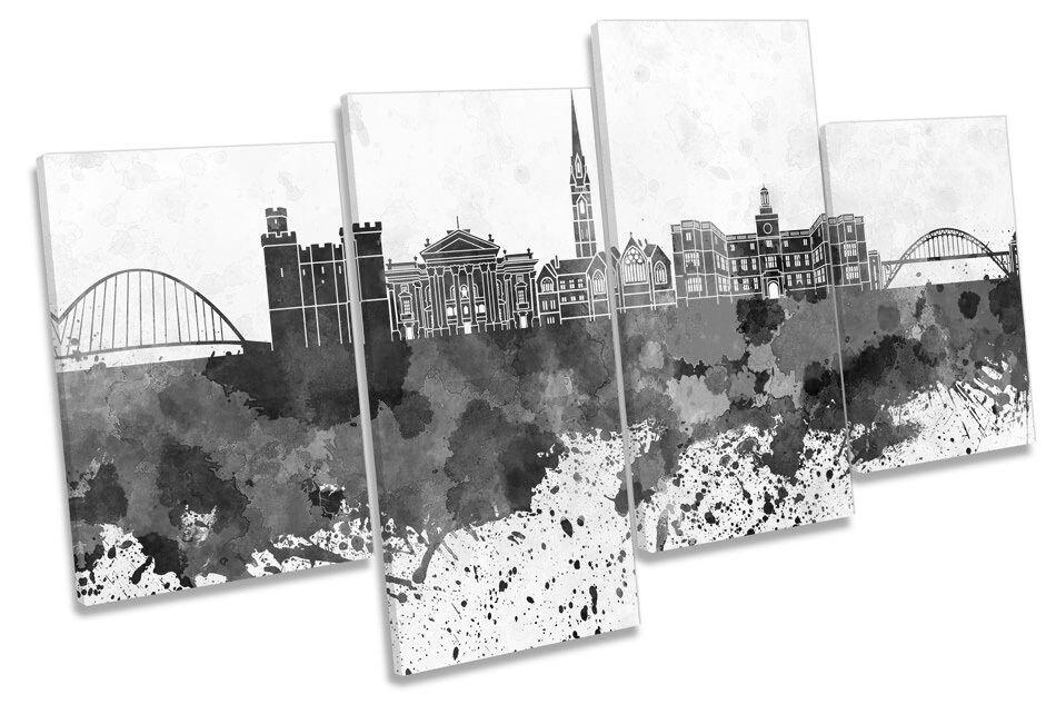 Newcastle Stadt Skyline Modern B&W MULTI CANVAS Wand Kunst Boxed Framed
