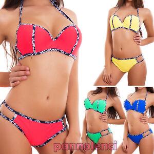 623ee7e30d83 Detalles de Bikini de Mujer Traje de Baño Mar Flores Cordones Push Up Sexy  Nuevo Dy7329