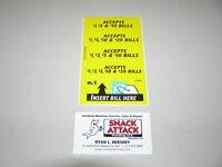 Vm010 Dollar Bill Changer Machine Label Stickers - Accepts $1, $5, $10 & $20