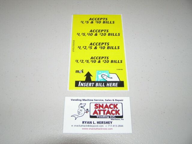 Vm010 Dollar Bill Changer Machine Label Stickers Accepts  20