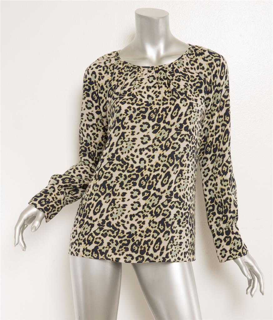 DEREK LAM Grün schwarz Animal Leopard Print Silk Raglan Long Sleeve Blouse 6 NEW