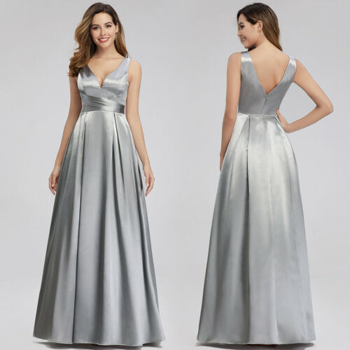 Ever-Pretty V-neck Long Grey A-line Evening Party Dresses Cocktail Formal Gown