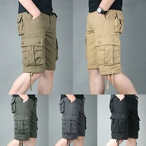 Fashion-Mens-Cargo-Combat-Shorts-Summer-Chino-Casual-Army-Work-Knee-Length-Pants