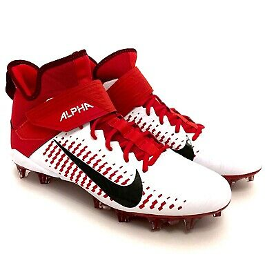 Nike Alpha Menace Pro Mid Football Cleats White Red 871451-166 $100 sz 11 or 12