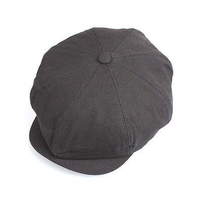 Unisex Mens Plain Eyelet Bakerboy Flat Cap Newsboy Cabbie Gatsby Hats Brown