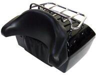 Motorcycle Luggage Trunk Tail Box Black Rack Backrest Universal Durable Saddle