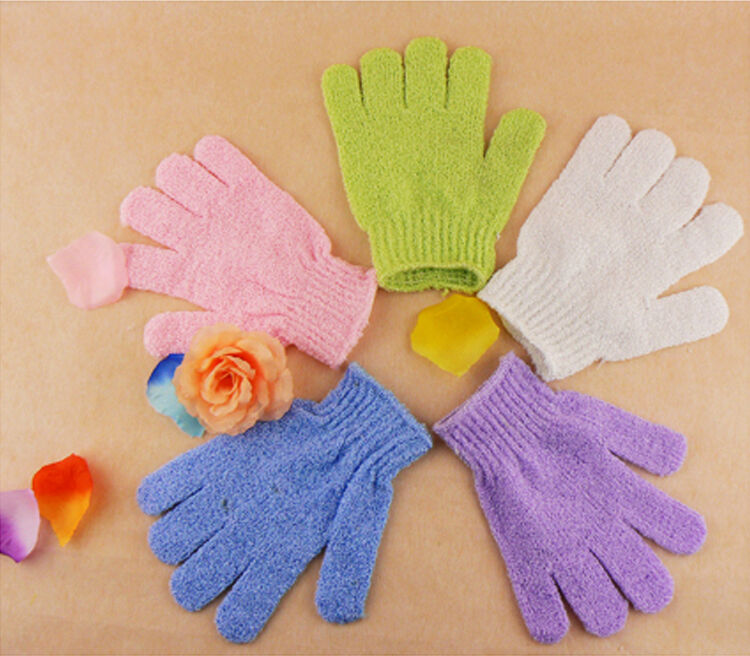 1 Pair Exfoliating Body Scrub Gloves Shower Bath Mitt Loofah Skin Massage