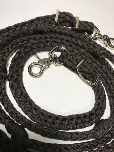 Barrel Reins With Grip Knots Hand Braided Black Paracord Western Tack