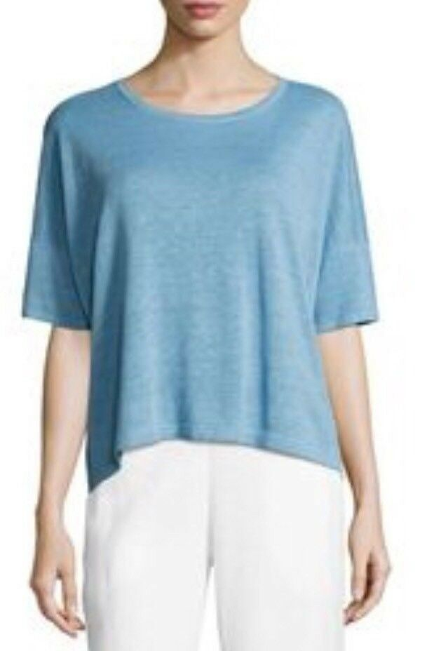Eileen Fisher Sky Blau Lightweight Organic Linen Knit Round Neck S S Top XL NWT