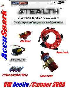 Vw-camper-beetle-jfu4-de-ignicion-electronica-enchufes-8-mm-Rojo-conduce-Red-Rotor-Bobina