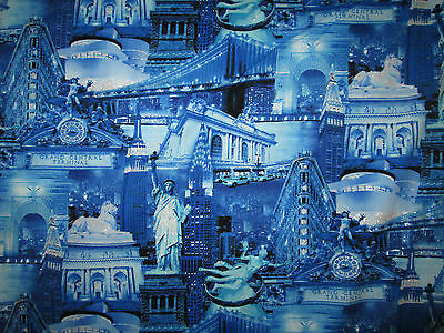 FAT QUARTER New York City Land Marks Sparkly FABRIC QUILT COTTON FQ