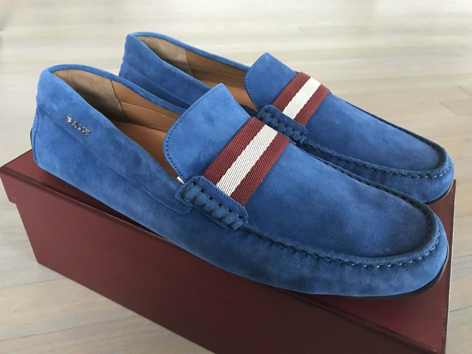 550$ Bally Pearce Prussian Blue Suede Driver Size US 12 Made in Italy