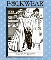 Folkwear Model T Duster Coat Street Or Ankle Length Sewing Pattern 230 Size 8-16