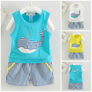 Details about 1 set baby toddler Kids boys summer outfits cotton top  tank+shorts whale