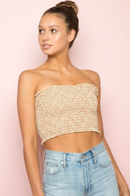 fe358a84605 Brandy Melville White Ruffle Smocked Cleo Tube Top With Red Trimming ...