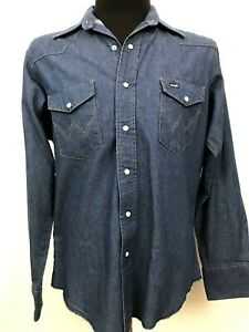 VTG-Wrangler-Shirt-Denim-Western-Pearl-Snap-16-1-2-35-X-Long-Tails-Large-Retro