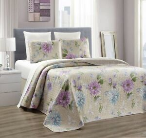 Taupe-Blue-Purple-Flower-Quilt-Reversible-Bedspread-FULL-QUEEN-Size-Coverlet