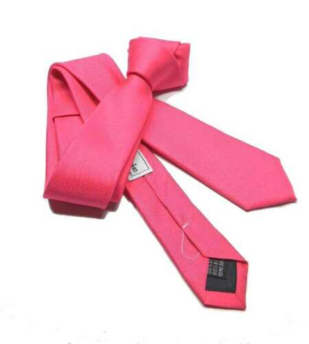 CRAVATTA uomo fucsia TIE slim di seta M Italy cravatte pink strong colori forti