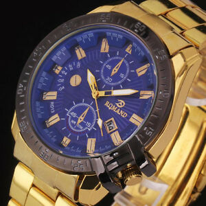 Stylish-Men-Black-Dial-Gold-Stainless-Steel-Date-Quartz-Analog-Sport-Wrist-Watch