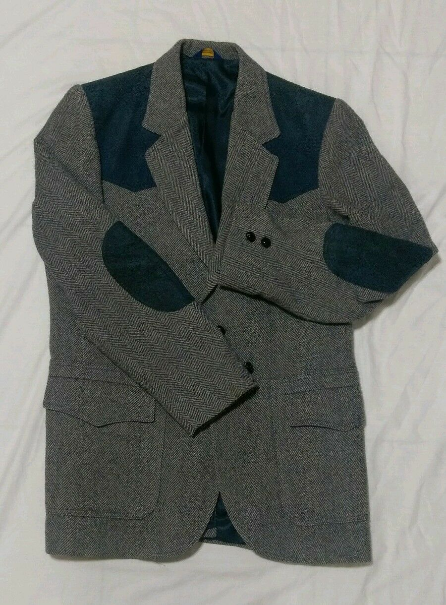 Vintage Pendleton  Herren Coat Blazer Pure Virgin Wool Größe 42L Suede Elbow Patch