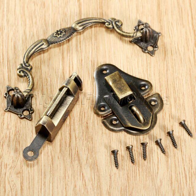 1 Set Chinese Old Cabinet Jewelry Box Latch Hasp Pull Handle & Lock Hardware Kit