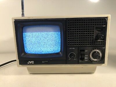 Vtg 1970s JVC 3040 Black White TV Television Set Portable AC/DC JAPAN 5