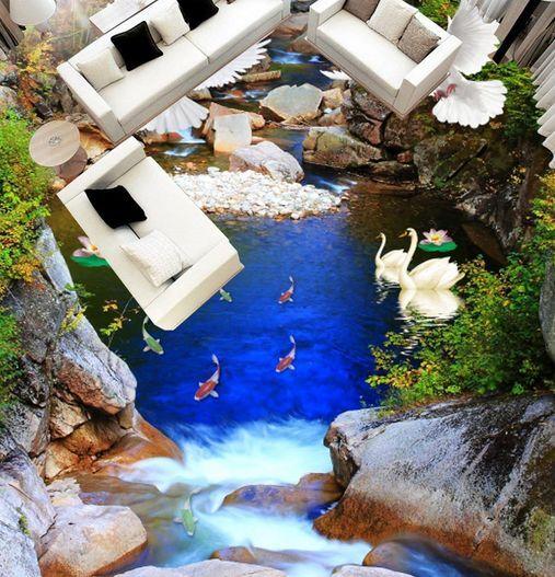 3D fiume pesce Blau Pavimento Foto Wallpaper Murales Muro Stampa Decalcomania