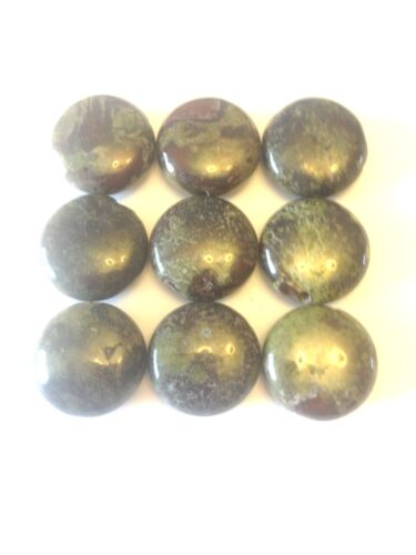 9 Gorgeous Dragon Blood Jasper Coin Shaped Gemstone Beads 15 mm