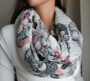 Ladies-Womens-Fashion-Scarf-Candy-Skull-Print-Choose-Color-Brand-New