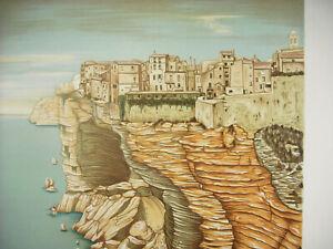 Jean-Martin-c1970-Print-Original-Signed-Num-64-120-Town-Fantasy-Cliff