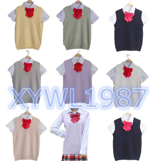 Japanese Student Uniform Vest V-neck Cotton Sailor Sleeveless Sweater Vest