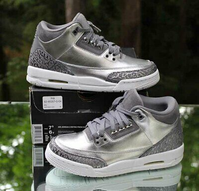 Nike Air Jordan 3 Retro Premium HC Girls Youth Chrome Grey White AA1243-020 7